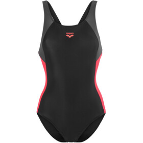 arena Ren One Piece Swimsuit Women black-deep grey-fluo red
